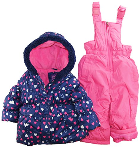 Pink Platinum Baby Girls All Over Hearts Two Piece Snowsuit Set, Navy, 24 Months back-215692