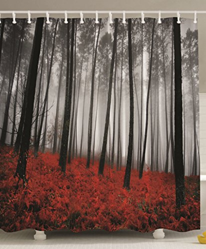 Fabric Shower Curtain Mystic Forest Red Grass Black And Gray Modern Art Flower Rainy Foggy Scene Miracle Feel Good Print