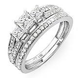 1.00 Carat (ctw) 14k White Gold Brilliant Princess Cut 3 Stone Diamond Ladies Engagement Bridal Ring Set Matching Band 1 CT (Size 6)