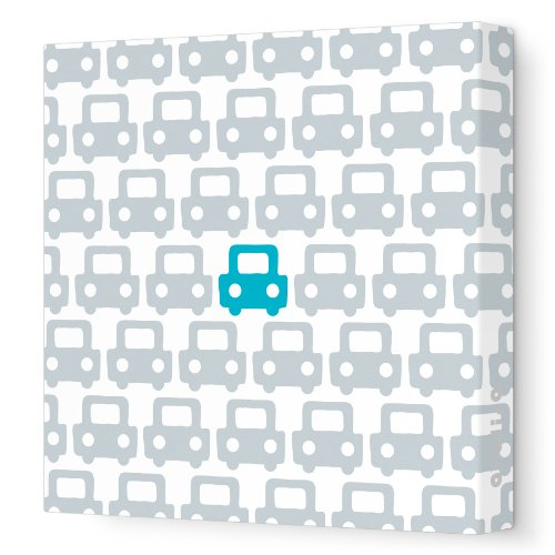 "Avalisa Stretched Canvas Nursery Wall Art, Auto Pattern, Aqua, 12"" x 12"""