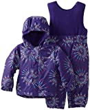Columbia Unisex-Baby Infant Fresh Pow Bib and Jacket Set, Hyper Purple Pinwheel, 18-24 Months