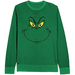 dr seuss mens grinch face ugly christmas sweater kelly green x large - Grinch Ugly Christmas Sweater