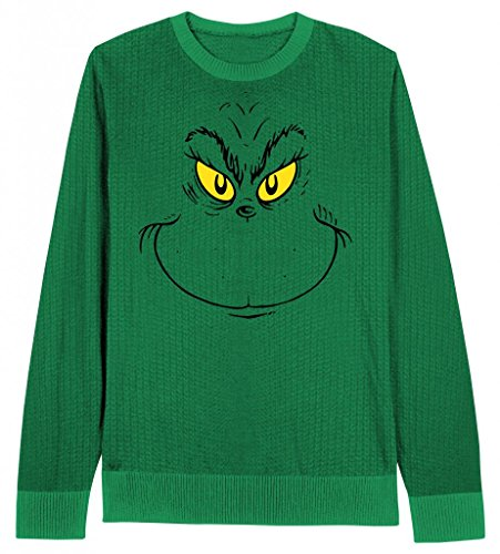 Dr. Seuss Grinch Face Christmas Sweater