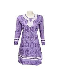 Mannmohini Chikan Women Cotton Purple Chikankari Regular Fit Kurti (Size : 38)