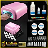 eLifeStore� 220V 36W UV LAMP LIGHT ACRYLIC GEL SHELLAC CURING NAIL POLISH DRYER FAST (Pink) + 4 X 9W BULBS and PROFESSIONAL UV GEL KITby eLifeStore