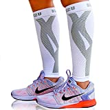 Blitzu Calf Compression Sleeve Socks One Pair Leg Performance Support for Shin Splint & Calf Pain Relief. Men Women Runners Guards Sleeves for Running. Improves Circulation and Recovery White L/XL