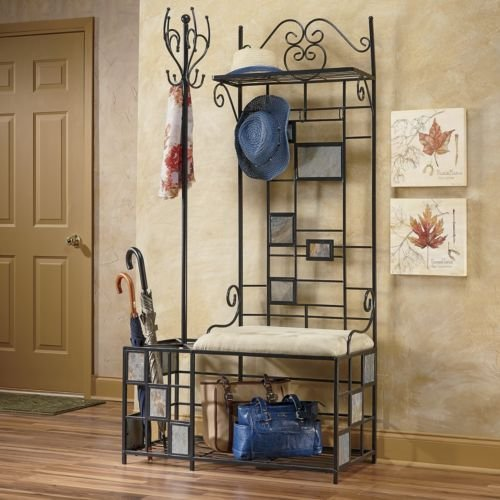 Entryway storage coat rack bench room ornament - Vestiaire mural fer forge ...