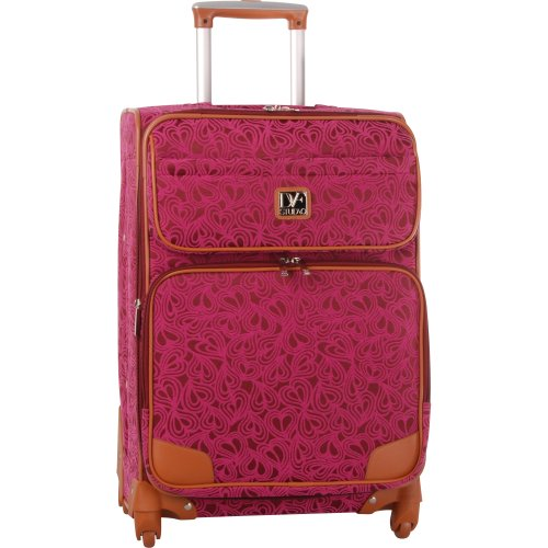Diane Von Furstenberg Luggage Hearts 24 Inch Expandable Cognac Trim Spinner, Beet/Plum, One Size top deals