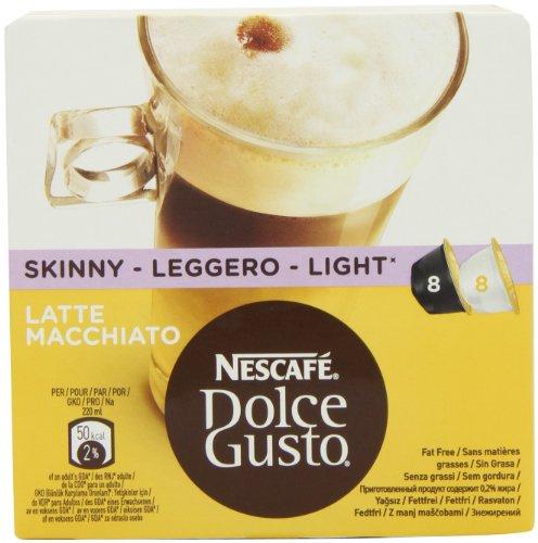 NESCAFÉ Dolce Gusto Skinny Latte Machiato 16 Capsules, 8 servings (Pack of 3, Total 48 Capsules, 24 servings)