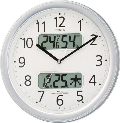 CITIZEN (シチズン) カレンダー表示付き電波掛時計 ネムリーナカレンダーM01 シルバーメタリック色 4FYA01-019