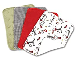Trend Lab Dr. Seuss Cat in the Hat Burp Cloth Set, Red, Green