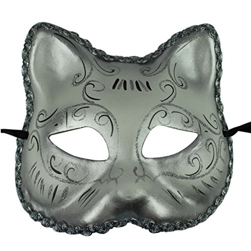 Venetian Masquerade Party Half Mask Cat Shape Eye Mask Halloween Mask (Silvery)