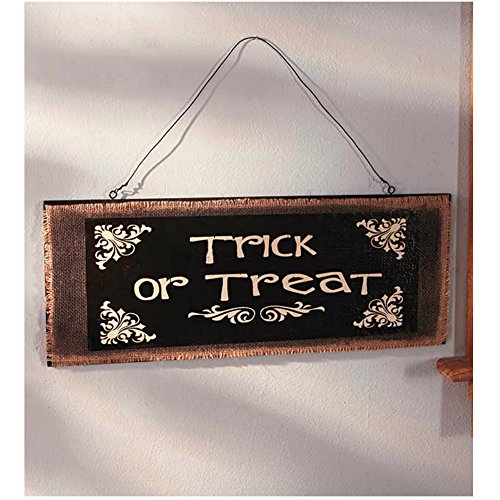 [Halloween Trick-or-Treat Wooden Hanging Wall Sign For Indoor Decoration, 19-3/4