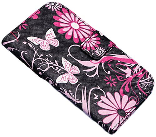 myLife Pink and Black {Flowers, Vines and Butterflies Design} Faux Leather (Card, Cash and ID Holder + Magnetic Closing) Slim Wallet for Galaxy Note 3 Smartphone by Samsung (External Textured Synthetic Leather with Magnetic Clip + Internal Secure Snap In Closure Hard Rubberized Bumper Holder)