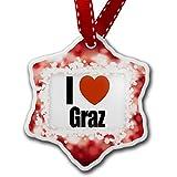 Christmas Ornament I Love Graz region: Steiermark, Austria, red - Neonblond