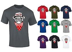 Mens Pug Life Dog Puppy Bandana Hip Hop Funny T-shirt