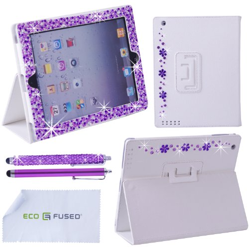 *BLING* iPad 3 White Leather Case with (Mixed Purple) Sparkling Rhinestone Flowers / One (Purple)*BLING* Stylus / One (Purple) Stylus - ECO-FUSED® Microfiber Cleaning Cloth 5.5x3.0