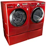 "LG ""Wild Cherry Red"" Steam Laundry Pair with Matching Pedestals and ELECTRIC Dryer (WM2650HRA, DLEX2650R, WDP4R)"