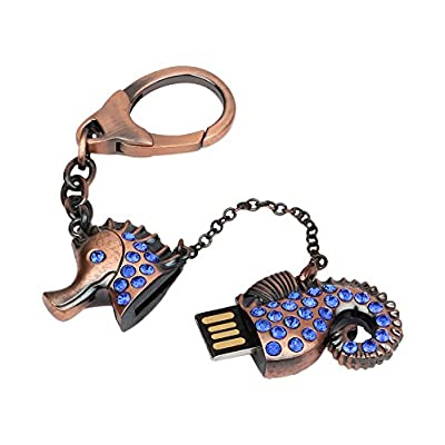 Quace Premium Quality Sea Horse Good Luck 16 GB USB Pen Flash Drive Key Chain