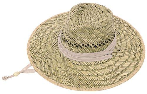 [Unisex Braided Fedora Sun Straw Hat with Hat Band & Adjustable Lanyard, Khaki] (Straw Farmer Hats)