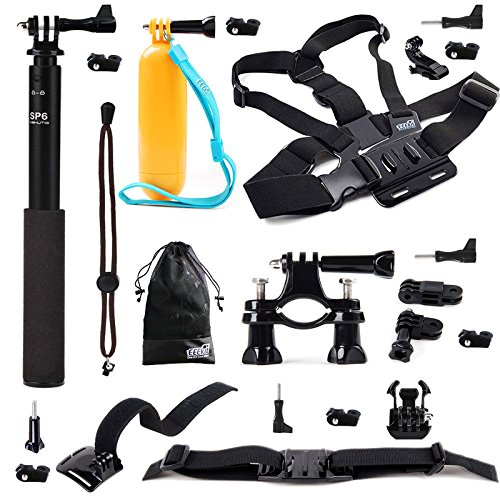 EEEKit 6-in-1 Premium Accessories Kit for Action Sports Cameras, Sony Action Cam HDR-AS10 AS15 AS20 AS30V AS100V AS200V AZ1 Mini Sony FDR-X1000V/W 4K Cam , GoPro HERO4 Session, HERO+ LCD/4 Black Silver/3+/3/2/1, SJCAM Original SJ4000 SJ5000 WiFi Action