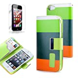 ATC PU Leather Quality Wallet Case for iPhone 5 Horizontal with Credit Card Slots & Holder Leather Case (Sprint, AT&T Verizon and International Carriers)(Green+Dark Green+Orange)