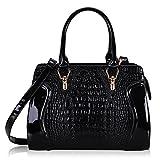 Hynes Victory Crocodile Pattern Top Handle Handbags Purses (Black)