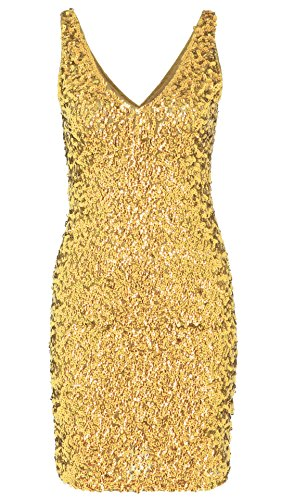 [JustinCostume Women's Sequin Costume Sleeveless Short Party Sparkly Dress (Medium, Gold)] (Party Glitters Costumes)
