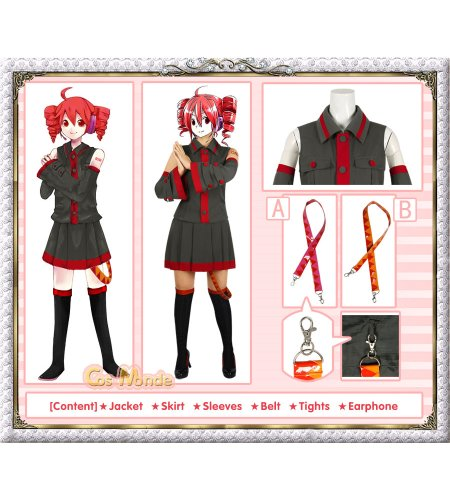 Vocaloid - Kasane Teto Cosplay Costume (Grey) [Deluxe Set]
