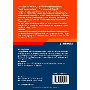 Finanzmathematik, Versicherungsmathematik, Wertpapieranalyse: Formeln und Begriffe (Studienbücher W