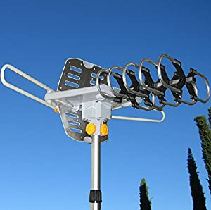 Able Signal Amplified HD Digital Outdoor HDTV Antenna with Motorized 360 Degree Rotation, UHF/VHF/FM Radio with Infrared Remote Control. Improved 2014 Version vs competition