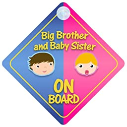 Big Brother And Baby Sister On Board Car Sign New Baby / Child Gift / Present / Baby Shower Surprise