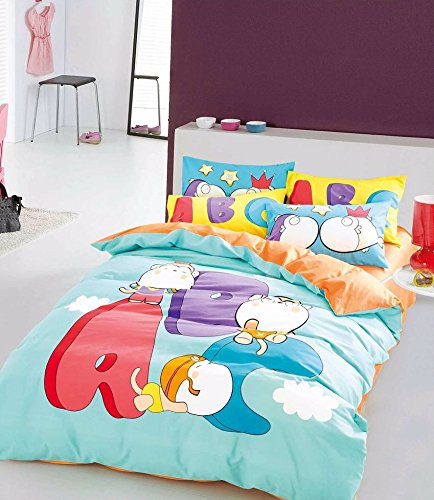 TheFit Paisley Bedding for Kids U10 Happy ABC Duvet Cover Set 100% Cotton, Queen Set, 4 Pieces