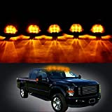 Carrep Universal 5x Smoked Cab Roof Top Marker Running Lamps Light Lamp W/ Xenon Amber LED Light Bulbs for Truck Pickup 4X4 SUV (5pcs Smoked Cab+9 Amber LED Light+Wiring pack)
