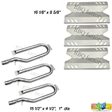 bbq factory Outdoor Gourmet Gas Grill Repair Kit Replacement Burners and Stainless Steel Heat Plates, 3 Pack