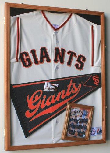 Baseball Jersey Frame Display Case Cabinet w/ 98% UV Protection -Oak Finished