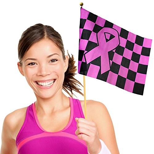 Pink Ribbon Checkered Flags (12 Pack) (Hope Merchandise compare prices)