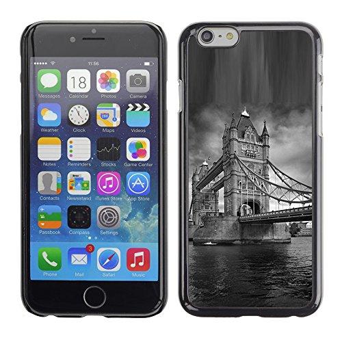 Qcase Slim Pc / Aluminium Sleek Case Cover Armor Shell -- Architecture London Bridge Black & White -- Apple Iphone 6