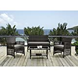 4 PCS Cushioned Compact Outdoor Rattan Wicker Patio Set Garden Lawn Sofa Furniture Seat Brown with Brown cushions