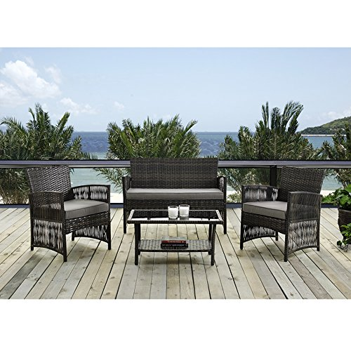 Complete Outdoor/Indoor 4 Piece Rattan Wicker Coffee Table Garden Patio Furniture Set, Brown with Bright Brown Cushions