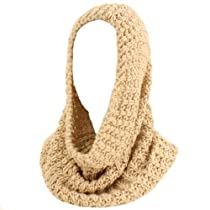 Winter Soft Chunky Pullover Knit Circle Loop Infinity Hood Cowl Scarf Ski Beige