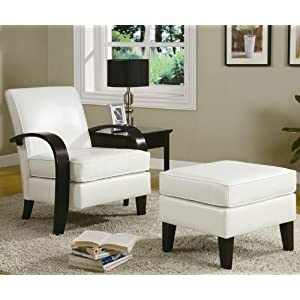 Coaster accent chair bentwood arm white bonded leather for Accent traditional chaise by coaster