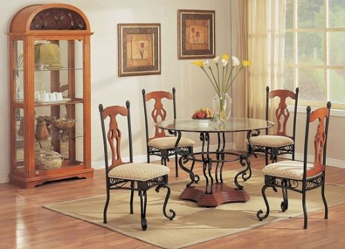 Cheap BEAUTIFUL ROUND GLASS TOP & WOOD DINING TABLE W 4 CHAIR (VF_AZ02-10865)