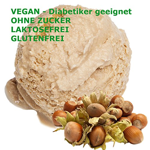1 Kg Haselnuss Geschmack Eispulver VEGAN - OHNE ZUCKER - LAKTOSEFREI - GLUTENFREI - FETTARM, auch für Diabetiker Milcheis Softeispulver Speiseeispulver Gino Gelati