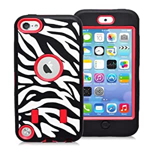 IIYBC Brand High Impact Heavy Duty Hybrid Zebra Shockproof Rugged Rubber Hard Case Cover for iPod Touch 5/ iPod touch 6 case (Red)