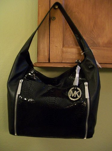 MICHAEL KORS Crosby XL Shoulder Tote bag Black SnakeEmbossed MK Leather