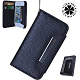 Premium Stylish Magnetic Wristlet Wallet Case for Apple iPhone 4 4S - Black