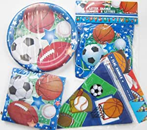 Greenbrier Sports Theme Birthday Party Kit For Boys and Girls ~ Standard Package For Larger Events ~ Dinner Pla