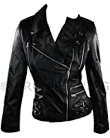 100% Ladies Real Leather Jacket Short Fitted Bikers Style Retro Black True style clothing