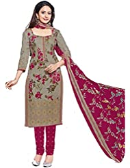 AASRI Pink Grey Diwali Cotton Floral Printed Unstiched Salwar Suit